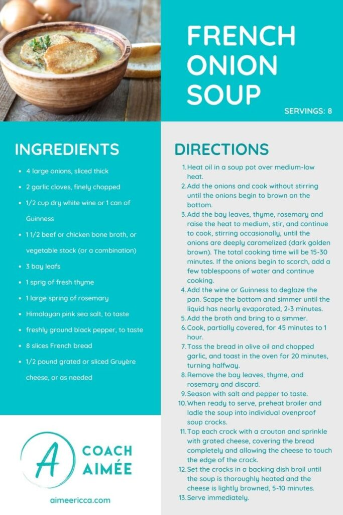 French Onion Soup Recipe Card